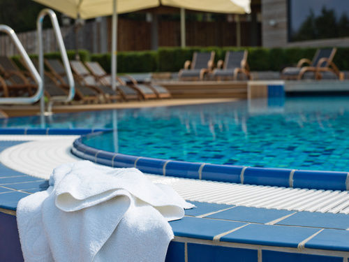 Outdoor pool Landhotel Birkenhof wellness hotel Bavarian Forest